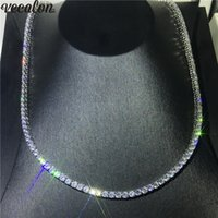 Vecalon Luxury Tennis Necklace White Gold Filled Full 4mm 5A...