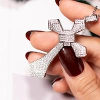 Big Pendentif croix Pave Diamond Argent 925 Pendentif croix de pierres précieuses Collier femme Homme Mariage Bijoux