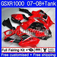 7Gifts + Tank para SUZUKI GSXR-1000 K7 GSX-R1000 GSXR 1000 07 08 301HM.29 GSXR1000 07 08 Carrocería GSX R1000 2007 2008 Carenados Stock rojo negro