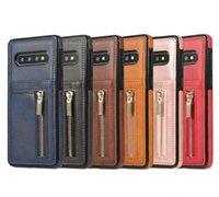 سستة الهاتف حالة بو الجلود غطاء متعددة الوظائف محفظة TPU الغطاء الخلفي بطاقة مع فتحة القضية لسامسونج S10 S10E S10PLUS هواوي P30 برو
