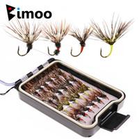 Bimoo 24PCS / Box Tenkara Fliegen in Wasserdicht Fly Box Größe 12 Widerhaken Tenkara Fishing Fliegenköder locken T200602