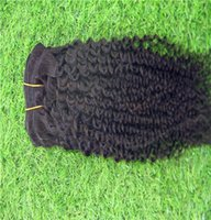 Black Color Indian Curly Hair Extensions 100% Human Hair Wea...