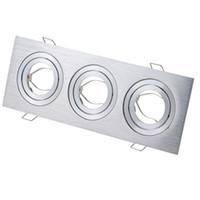 Tre teste Griglia di lampada tazze soffitto quadrata incasso per GU10 / MR16 GU5.3 posto lampade alogene MR11 titolare CRESTECH LED