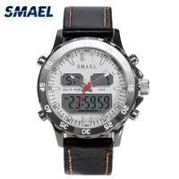 Smael 스포츠 시계 방수 정품 듀얼 디스플레이 쿼츠 손목 시계 남자 시계 패션 스마트 디지털 시계 LED 남자 1281