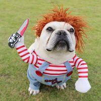 Halloween Dog Costumes Funny Pet Clothes Adjustable Dog Cosplay Costume Sets Novelty Clothing For Medium Large Dogs Bulldog Pug T200101