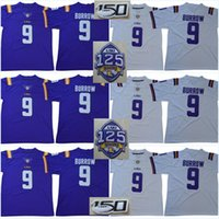 LSU Tigers 1918 Stagione silenzioso 2018 125 # 9 Joe Burrow 150 ° Patch # 3 Odell Beckham Jr. # 7 Fournette Peterson Mathieu Collegio Maglie
