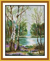 Peinture de décor à la maison de paysage de lac belle, ensembles faits de couture de broderie de point de croix à la main comptés impression sur la toile DMC 14CT / 11CT