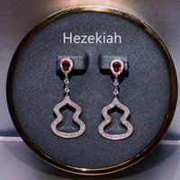 Езекия 925 Tremella иглы тыквы партии серьги Роскошные высокого класса Свадебные Серьги Леди Eardrop Lady славы французского качества