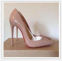 2020 الكعوب HOT أحذية للنساء الأحمر القيعان العليا مثير أشار تو الأحمر الوحيد 8CM 10CM 12CM مضخات تأتي مع أكياس الغبار حذاء الزفاف