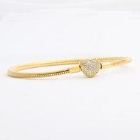 الذهب بالجملة، مطلي صندوق مجموعة CZ الماس القلب أساور الأصل لباندورا 925 ثعبان سلسلة سوار للمجوهرات النساء الزفاف