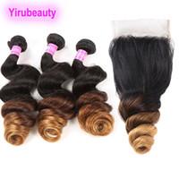 Cabelo humano peruano 1b / 4/30 ombre extensões de cabelo solto pacotes de onda com fecho de renda 4x4 4 pcs solto onda yirubeuty