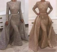 2020 de la manga de la sirena vestidos de noche largo de la joya del diseño único vestidos de noche de encaje con lentejuelas Beads cristales vestidos de noche formales