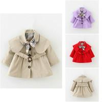 Девочки пальто шанца Весна Осень Топы Дети Trench куртка Верхняя одежда Coat Детская одежда Длинные окопах рукав