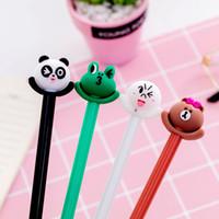 2 Pcs Cute Frog Bear Gel Pen 0.5mm Black Ink Silica Gel & Plastic Pens for Kids Stationery School Writing Neutral Pens Papelaria