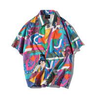 Homens casuais camisas homens moda manga curta hip hop japonês streetwear de seda ukiyoe camisa masculina verão havaiano