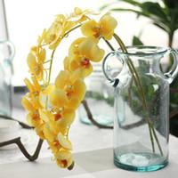 2pcs PU Orchidées de grande taille Latex orchidée artificielle Real Touch Phalaenopsis pour mariage Fleurs décoratives Accueil Centerpieces Faux