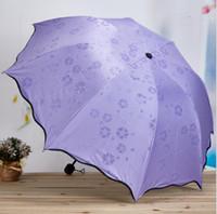 Изменять цвета зонт Три Складные черное покрытие Виниловые Солнцезащитный Зонтики Открытый Зонтик Clear Солнечный дождливый зонтик LXL945Q