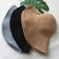 Knitted Stingy Brim Bucket Hats Elegant Foldable Fisherman H...