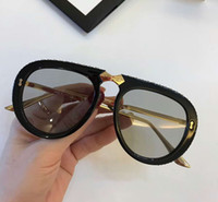 lujo 0307 oro negro azul claro cristal plegable gafas de sol de piloto 0307S Nuevo con estuche