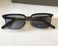 Preto vintage Praça Sunglasses Lens Cinzento Dourado Pads Nariz 2076 Sun Shades Homens óculos de sol New com caixa