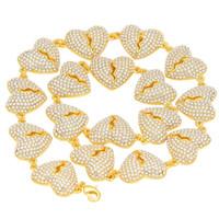 Fashion-Hip Hop gioielli diamante ghiacciato fuori la collana Chian delle donne degli uomini oro rotto Heart Necklace