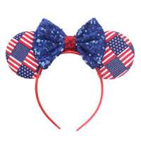 Independence Day Neonate Arco Fascia per capelli Mouse orecchio Stella Sequind Stripe Hair Sticks Bambini Headwear Boutique accessori per capelli 2 colori