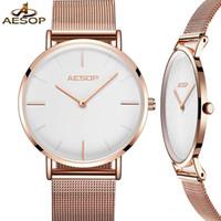AESOP 7 mm ultra delgada Mujeres cuarzo de las señoras de las mujeres pulsera relojes de oro malla de acero Correa mujer reloj de pulsera reloj de lujo Una mujer