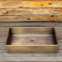 Brass Rectanglar coffee vanity sink smooth surface bathroom ...