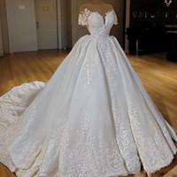 Robes de mariée à manches courtes de luxe à manches courtes à manches courtes en dentelle Appliques de dentelle perlée Plaquine plate robe de mariée Western Country Vestido de Noiva