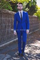 Brand New Groomsmen Royal Blue Groom Tuxedos Notch Lapel Men Suits Wedding Prom Best Man Bridegroom (Jacket + Pants + Tie) L306