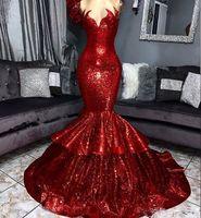 반짝 반짝 빛나는 붉은 인어 댄스 파티 드레스 깎아 지른 넥 스팽글 반짝이는 반짝이는 스윕 트레인 저녁 가운 특별 행사 드레스 robes de soirée