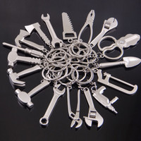 Mini herramientas de mano llavero de metal hacha destornillador taladro eléctrico martillo alicates encanto mezclado llavero asimiento joyería de moda 170883