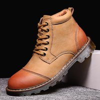 CIMIM Winter New Men' S Boots Fashion Fur Leather Boots ...