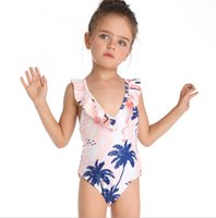 Baby Girls Swimsuits V Neck Ruffled Girl Swimwear One Piece ...