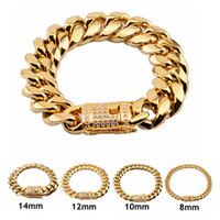 Stainless Steel Bracelets High Polished Miami Cuban Link Bra...