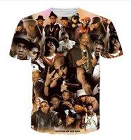 Novità Moda Uomo Estate Stile 2pac Tupac / Biggie Piccoli / Snoop Dogg Divertente 3D Stampa T-Shirt Casual XDX054