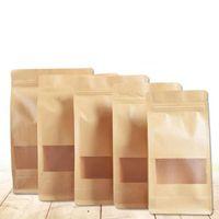 Коричневый Doypack крафт-бумаги пакет сумки ясно окно дизайн Самоуплотняющаяся молния сумка для пищевых орехов закуски мешки для хранения QW9565