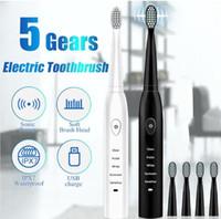 فرشاة الأسنان الكهربائية الجديدة مع 3 استبدال رئيس الموجة الصوتية القابلة لإعادة الشحن الذكية رقاقة فرشاة الأسنان رئيس استبدال فرشاة الأسنان التبييض