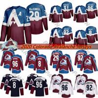 2020 Colorado Avalanche 29 Nathan MacKinnon 8 Cale Makar 92 Gabriel Landeskog 96 Mikko Rantanen de hockey sur glace Maillots