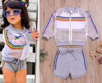 deporte de los niños del verano 2020 trajes de los niños nueva raya del arco iris ropa exterior con cremallera + tapa del tanque blanca + shorts 3pcs diseñador niñas conjuntos de estilo A3099