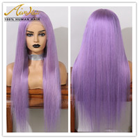 AIVA Full Lace Human Hair Purple Wigs with Baby Hair Silky S...