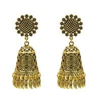 Indischen Retro-Palast-Stil Kronleuchter Ohrringe Blume Blatt Quasten Anhänger Ohrringe