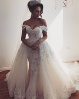 Luxurious Lace Mermaid Arabic Wedding Dresses Sweetheart Bea...