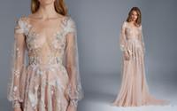 Paolo Sebastian Prom Dresses Sheer Bateau Neck Long Sleeves 이브닝 드레스 착용 페르시 스팽글 Applique Floor Length Party Gowns