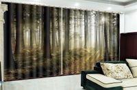 3d cortina de ventana Promoción exuberante selva virgen paisaje HD Digital Printing decoración de interiores cortinas opacas práctica