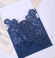 Tarjeta de invitación de boda del corte del láser romántico 50 unids Tarjeta de invitación de novia Patrón tallado hueco fuera de la fiesta de banquete (sin interiores)