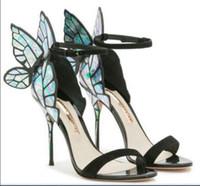 صوفيا ويبستر الصنادل النساء أحذية جلد طبيعي مضخات فراشة عالية الكعب الصنادل للنساء أحذية الخنجر مثير