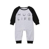 Hug Life Neugeborene Jungen Mädchen Brief Strampler Säuglingsbabys Jungen Mädchen Nette Baumwolle Strampler Einteiler Outfits Kinderkleidung