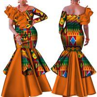 Vestido Danshiki África para la Mujer Bazin Riche de un solo hombro atractivo de la raya vertical fiesta de la boda vestido de cuello ropa tradicional africana WY4224