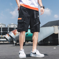 Summer Casual Cargo Shorts Men Cotton Solid Ribbons Pockets ...
